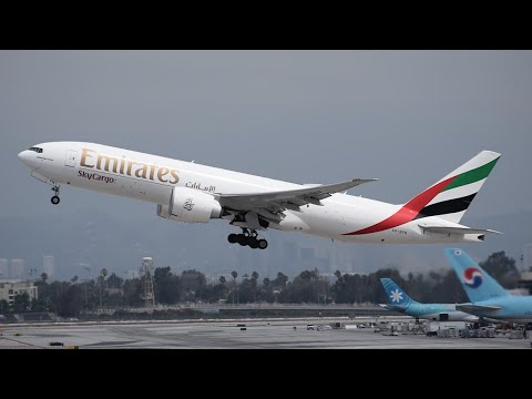 Emirates SkyCargo Boeing 77F [A6-EFN] Departing LAX.