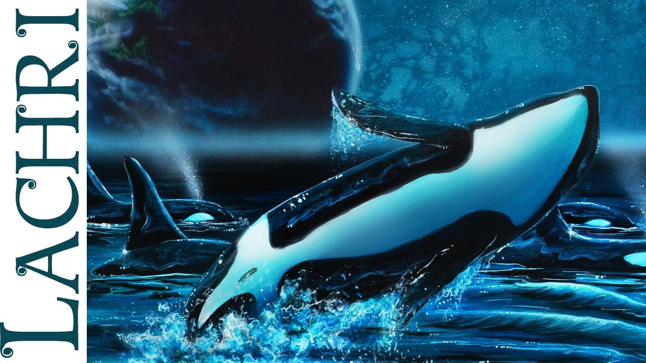 Speed Painting surreal Orca / killer whales in acrylic