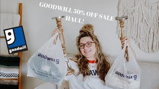 GOODWILL 50% OFF SALE HAUL & COME THRIFT WITH ME   THRIFTED HOME DECOR AND CLOTHING