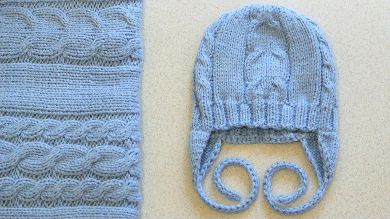 шапка с ушками спицами на возраст 0 3 мес комплект плед Blu