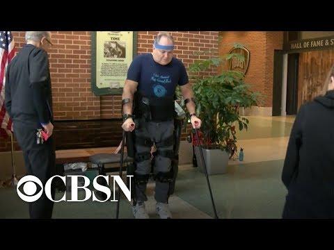 Paralyzed veteran gets robotic legs