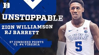 Zion Williamson and RJ Barrett GO OFF vs. UVA (1/19/19)
