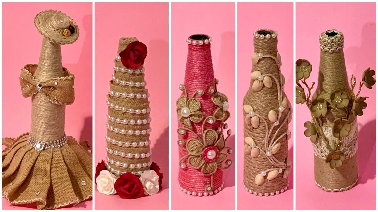 5 Jute Bottles Decoration Ideas/Best Craft Ideas With Jute ...