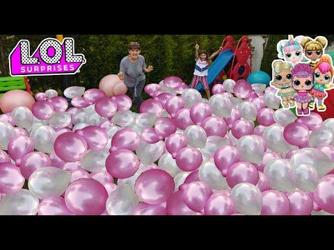 Bahçede 100 Balon patlatmaca. Eğlenceli Çocuk Videosu