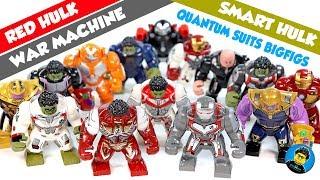 Red Hulk Thanos War Machine Smart Hulk Quantum Realm Suits Avengers Endgame Unofficial LEGO BigFigs