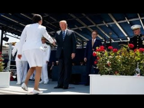 Trump shakes hands with nearly 1,100 US Naval Academy graduates