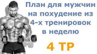 постер к видео План для мужчин на похудение из 4-х тренировок в неделю (4 тр)