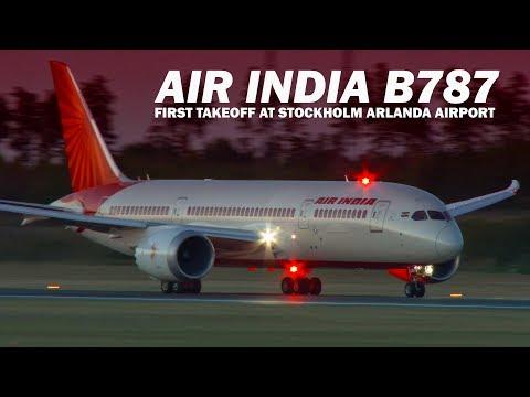 Air India B787 first takeoff at Stockholm Arlanda Airport ESSA