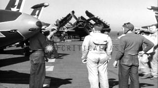 King Faisal II and Prince Abdul-Ilah of Iraq, visit the Aircraft Carrier USS Oris...HD Stock Footage