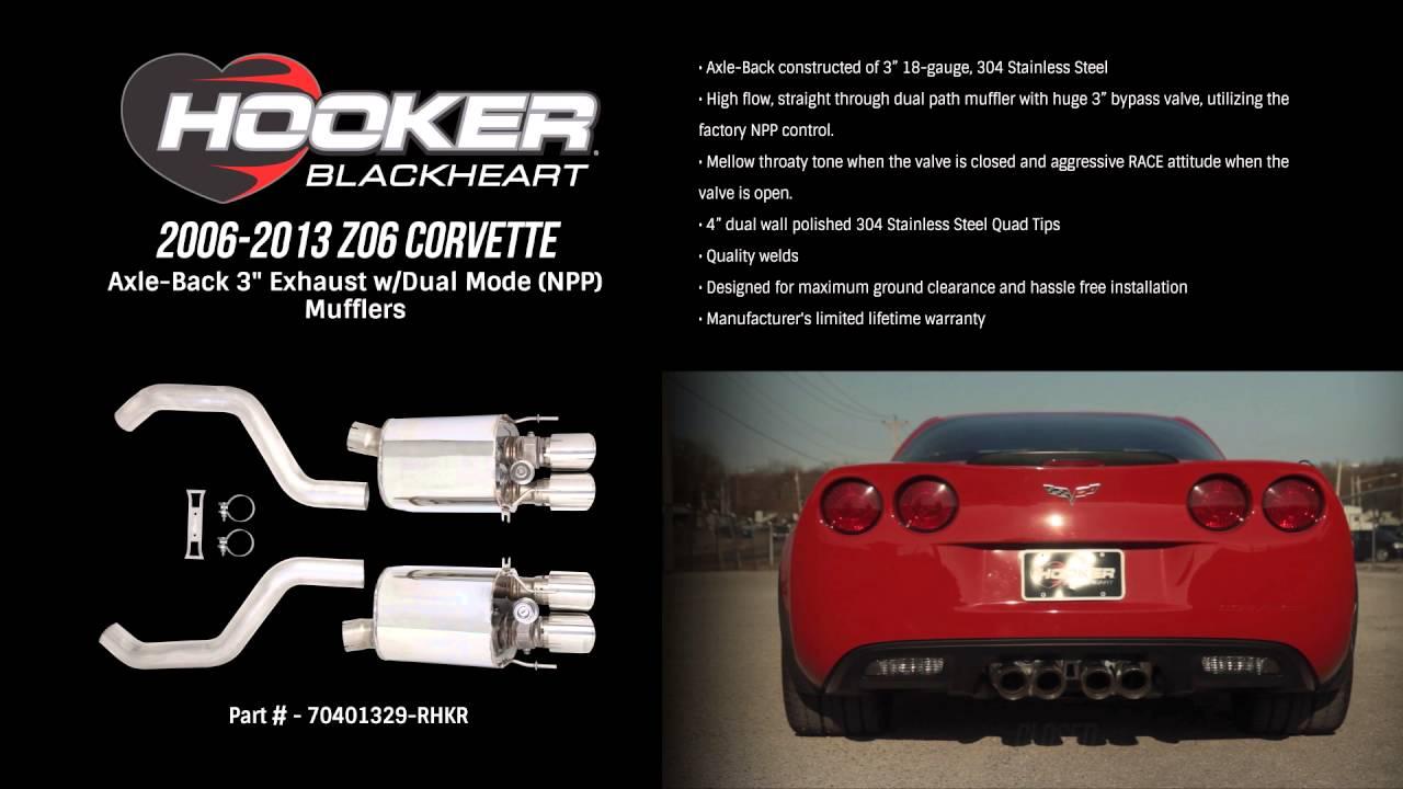 2006-2013 ZO6 Corvette Hooker BlackHeart Axle-Back Exhaust With Dual Mode  (NPP) Mufflers