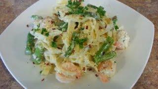 How To Make Shrimp And Asparagus Fettuccine Alfredo Pasta Recipe