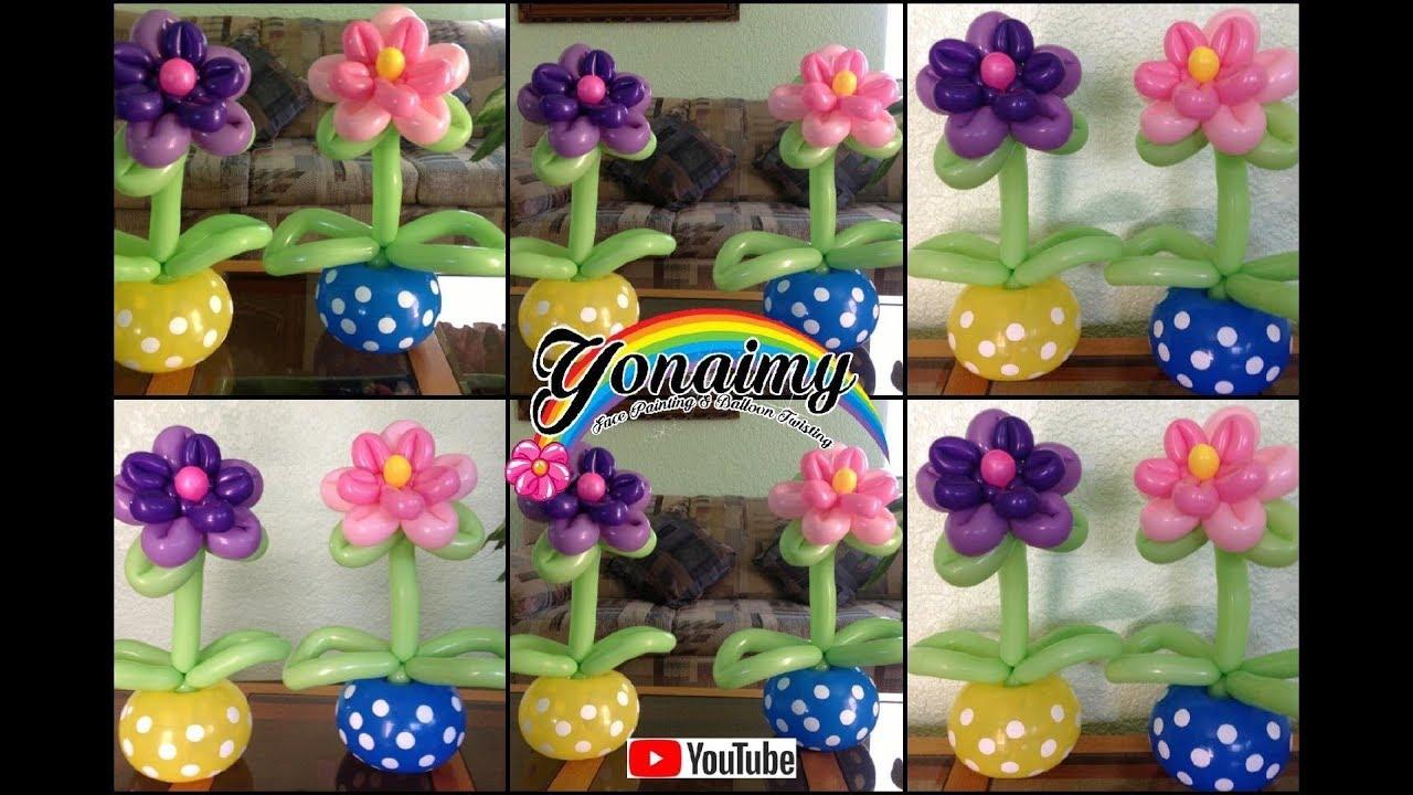 Centro de mesa con flor doble flower centerpiece youtube - Manualidades con globos ...