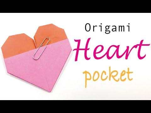 Origami Paper Heart Pocket Envelope Origami Kawaii003 Youtube