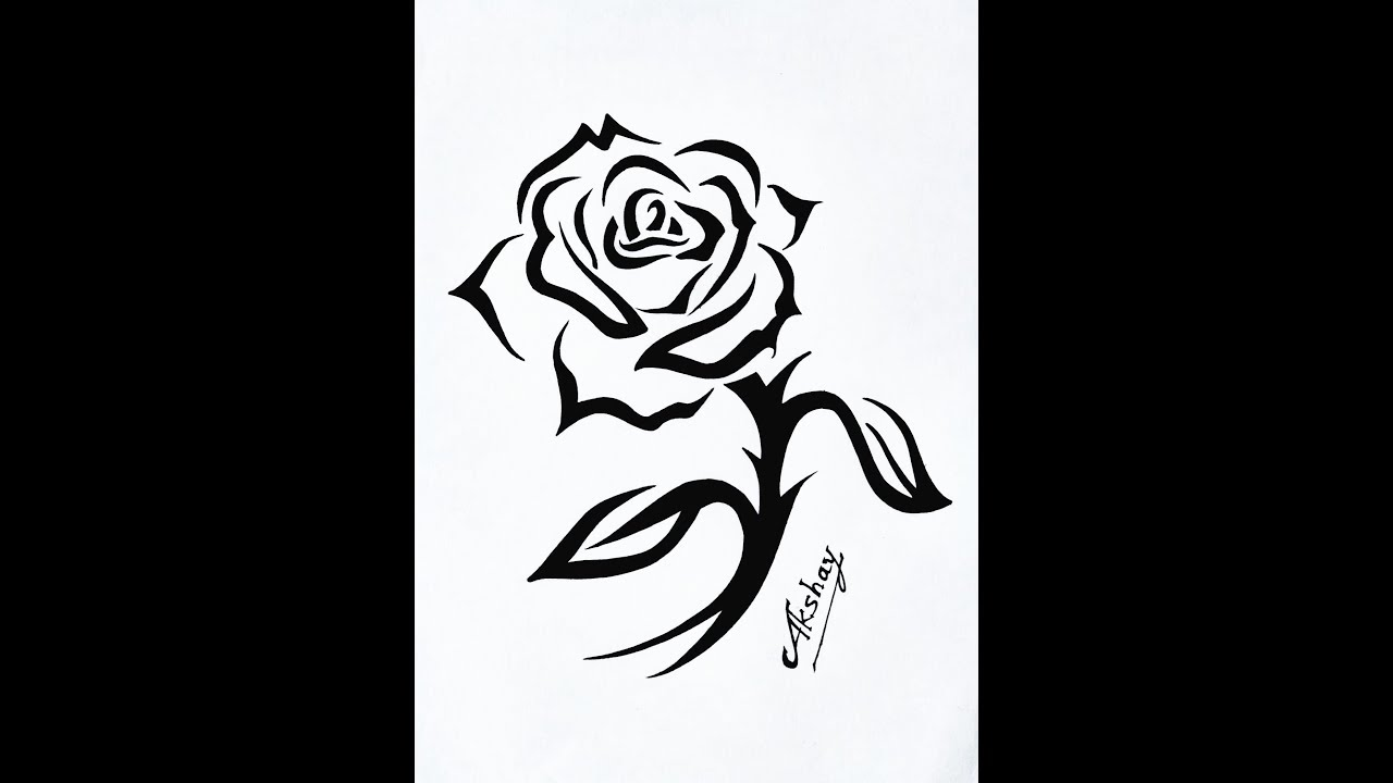 How To Draw A Tribal Rose With A Stem Design Tribal Tattoo Design