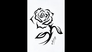 How to draw a Tribal Rose with a Stem Design - Tribal Tattoo Design Style - Art Maker Akshay