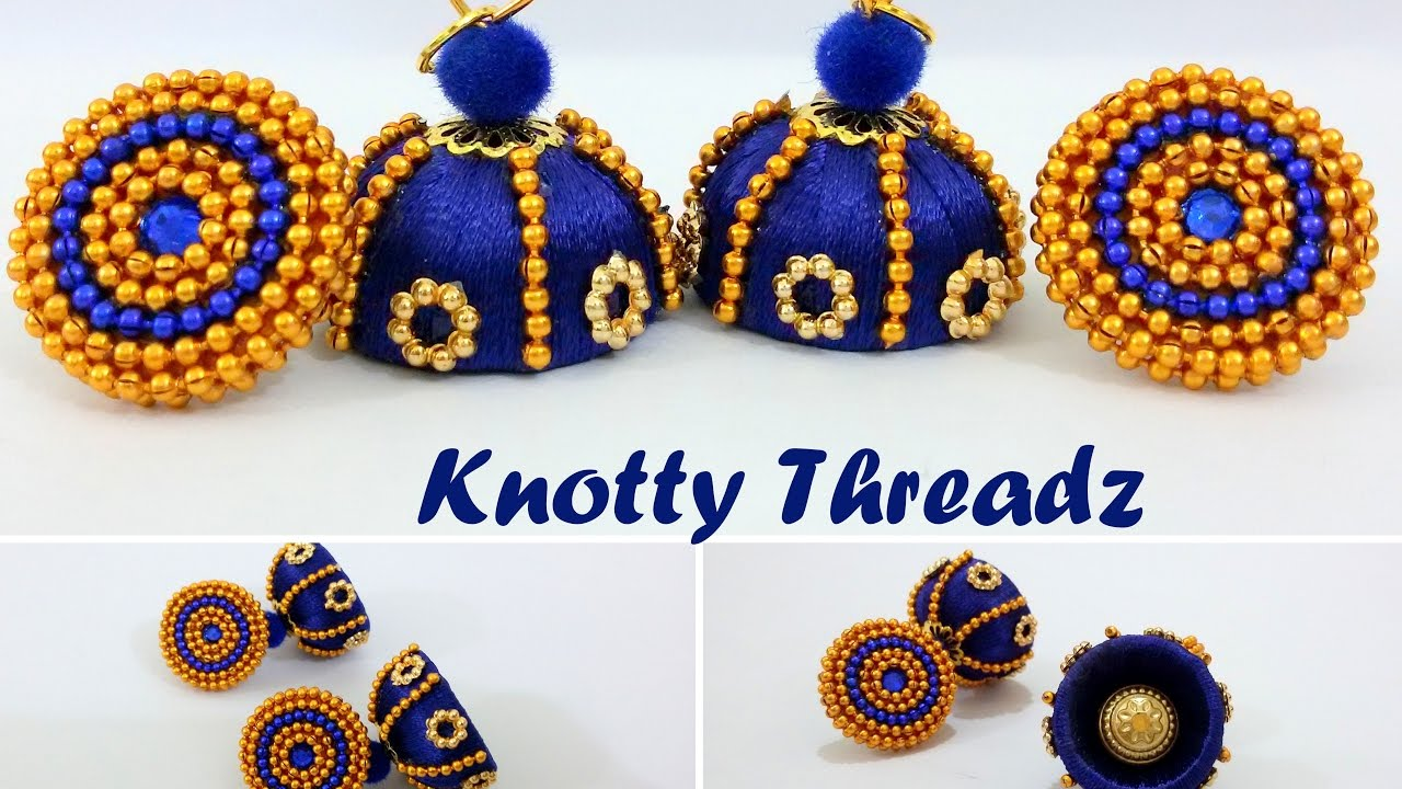 d8f9477b0 | DIY | How to make Silk Thread Jhumkas with Quilled Studs at Home |  Tutorial ...