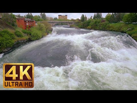 1 Hour - 4K (Ultra HD) Relax Video | Spokane Falls, Riverfront Park, Spokane, Eastern Washington