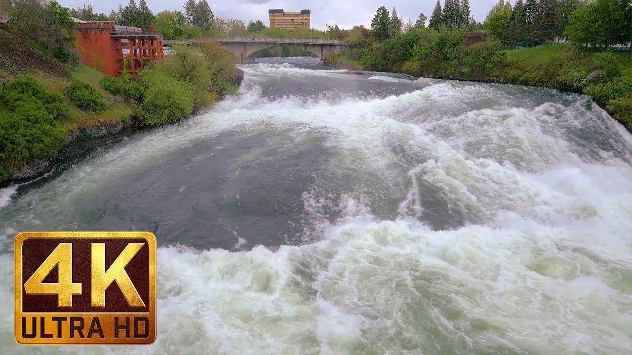 1 Hour - 4K (Ultra HD) Relax Video | Spokane Falls, Riverfront Park, Spokane, Eastern Washington