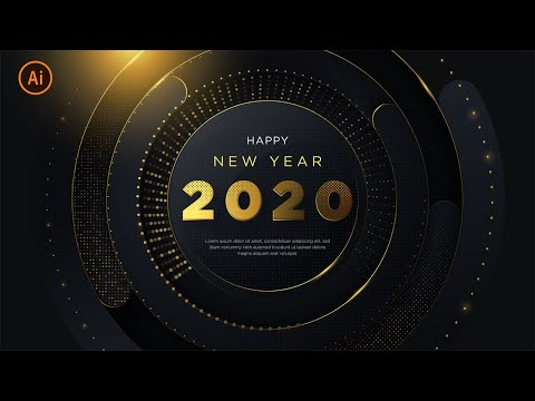happy-new-year-2020-|-luxury-background-with-glitter-gold-|-illustrator-tutorial-|-part-4