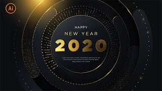 Happy New Year 2020 Luxury Background with Glitter Gold illustrator Tutorial Part 4