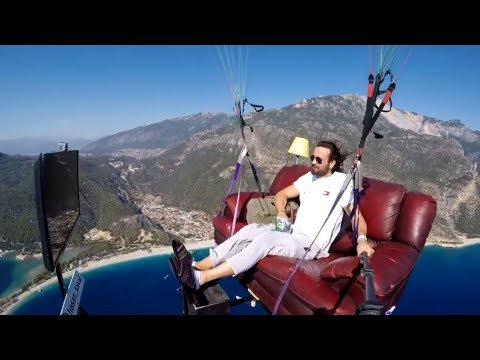 Man With A Flying Living Room