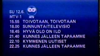 TV1 A-raportti (pätkä lopusta) ja MTV1 kuulutus ja mainokset 11.6.1983