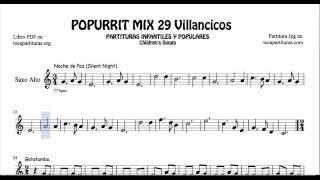 29 Popurrí Mix Villancicos Partituras de Saxofón Alto Noche de Paz Gatatumba Los Peces en el Río