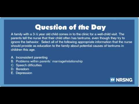 NCLEX Practice Questions: Tantrums in a 3-year-old (OB/Peds/ Health Promotion and Maintenance)