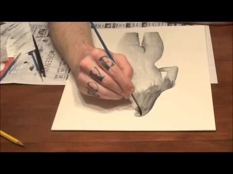 Ink Wash Painting Time Lapse by Kyle Dobbins (Coffee Shop Girl)