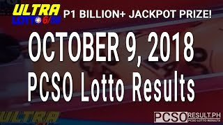 PCSO Lotto Results Today October 9, 2018 (6/58, 6/49, 6/42, 6D, Swertres, STL & EZ2)