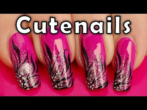 Quick Easy Nail Art Gradient Floral French Manicure Tutorial By