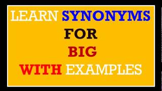 Spoken English through telugu | learn english || speak English || synonyms for BIG