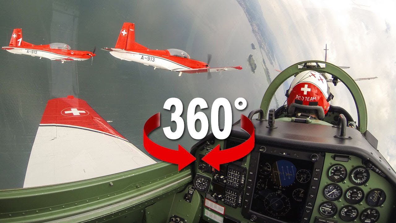 360 cockpit view pc 7 team swiss air force youtube. Black Bedroom Furniture Sets. Home Design Ideas