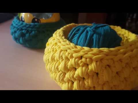 Crochet - How To #Crochet a Basket with T-shirt Yarn #Tutorial