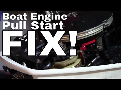 Johnson Evinrude Outboard Pull Start Recoil Repair----HOW TO FIX