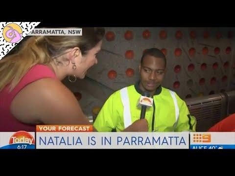 TV reporter stunned by tradie's Australia day long weekend activities  (punched a few cones)Original