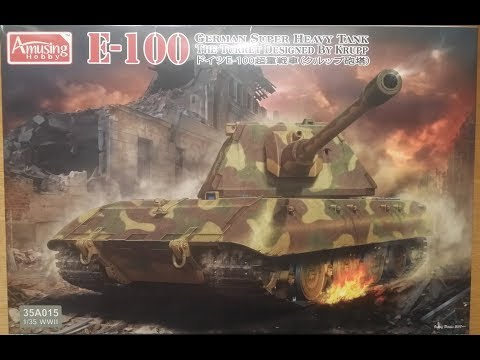 Amusing Hobby 1/35 E100 Super Heavy tank unboxing and kit review.