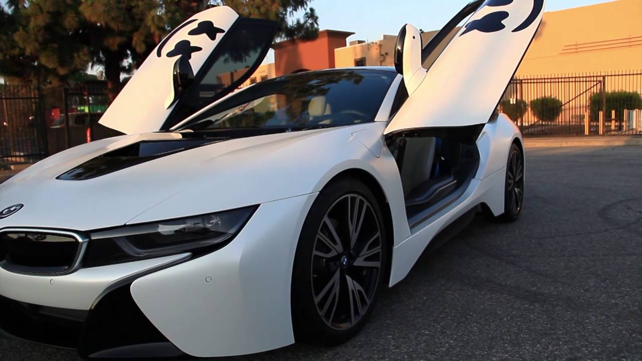 dj marshmello s bmw i8 full wrap in satin pearl white w gloss black