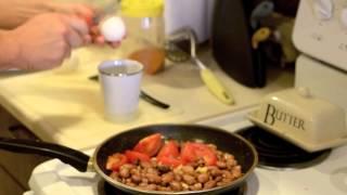 Quick Breakfast- Eggs,beans & Veggies