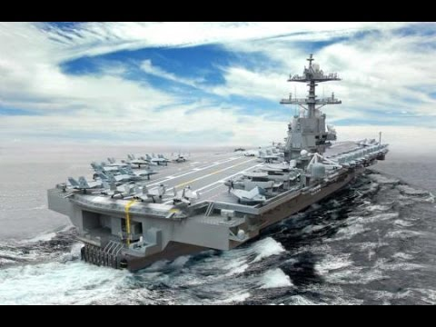 Ford-class aircraft carriers close shot on the building process in time-lapse photography US navy