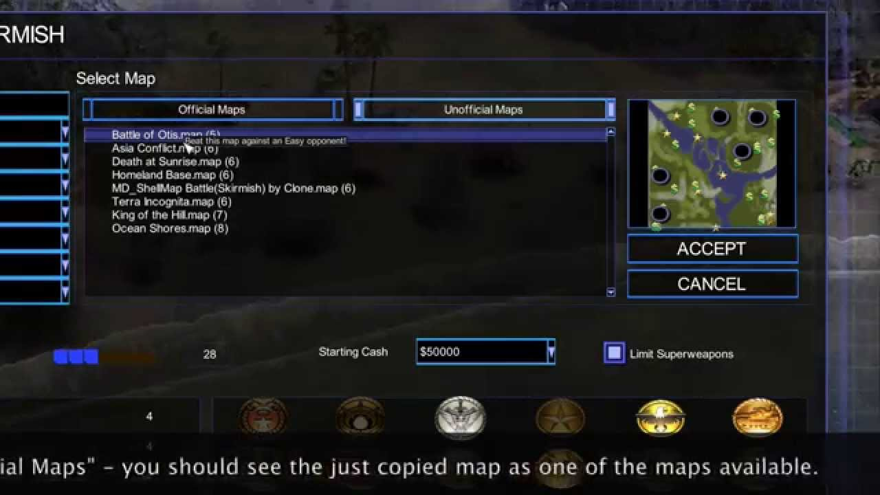 How to use user generated Command and Conquer Maps on a Mac in