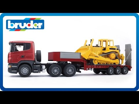 Bruder Toys SCANIA R-series Low Loader Truck w.CAT Bulldozer #03556