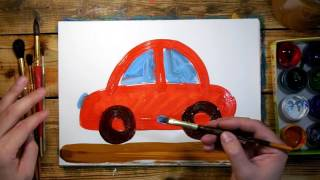 How to draw a red car. Drawing Lesson for kids