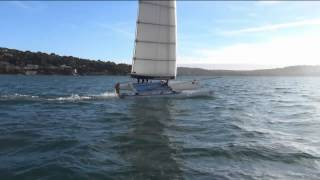 SoftWing - F18 catamaran with a soft wing: proof of measure, St. Tropez, Feb. 2014