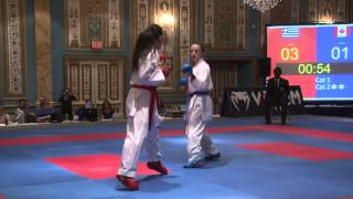 2015 US Open Open Weight Elite Female Kumite Final Vasiliki Panetsidou Greece vs Kathryn Cambell CAN