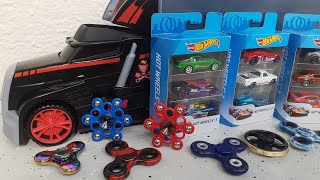 Fidget Spinners toys unboxing with Hot Wheels Cars Review