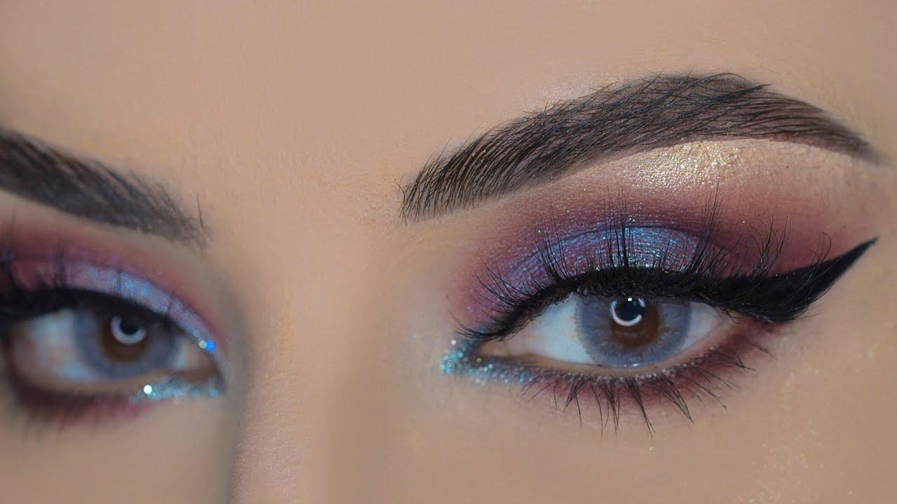 مكياج فخم  بألوان مشوقة مع تعليم رسم للايلينر  مناسب للعيون الدائرية |glam look for round eyes
