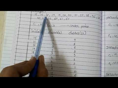 K Means Clustering Algorithm Example For The Simple Data Like 15,16,17.... - Part 1