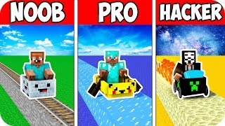 Minecraft NOOB vs PRO vs HACKER : FASTEST TRAVEL RIDE CHALLENGE