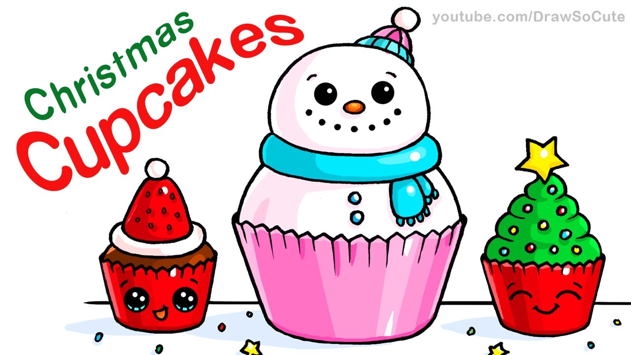 Cute Christmas Drawings.How To Draw Christmas Cupcakes Step By Step Easy And Cute